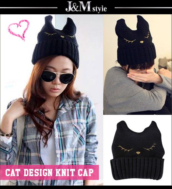 Cuteなネコ顔刺繍入り♪ネコ耳ニット帽/帽子(cp01-2085)