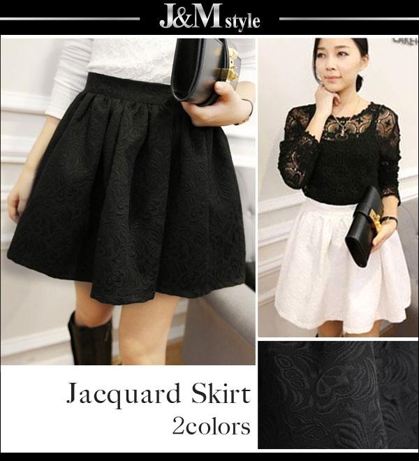 スカート通販〜J&M styleブランドのジャガード織り♪ボリュームフレアスカート(q909-1988)