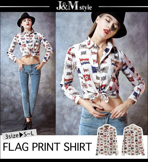 シャツ通販〜J&M styleブランドのS~Lサイズ☆セレカジ♪フラッグ総柄長袖シャツ/ブラウス(sh30-2107)