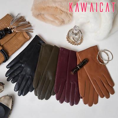 服飾小物通販〜KawaiCatブランドの【gl10097】 中は柔らかい起毛で暖かいシンプルなリアルシープグローブ(リアルラムシープ)(4色)