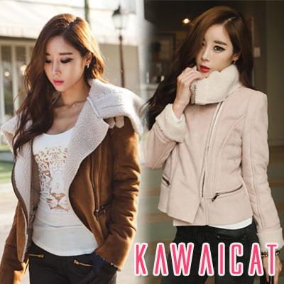 アウター通販〜KawaiCatブランドの【C-style】【jk10144】2パターンの着こなしが楽しめる冬コーデにマストなあったかジャケット☆2WAYムートンジャケット