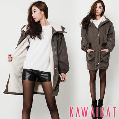 アウター通販〜KawaiCatブランドの【jk10185】ルーズなスタイルが魅力的なナチュラルシルエットが◎♪裏地ボアで暖かいサファリジャケット