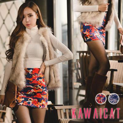 スカート通販〜KawaiCatブランドの【sk10281】 刺繍風のお洒落なデザインでコーデのポイントになること間違いなし!ミックスカラースリムラインスカート