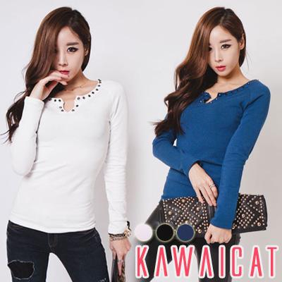 シャツ通販〜KawaiCatブランドの【C-style】【ts10316】スパイスを与えたネックラインポイントスタッズ装飾長袖Tシャツ