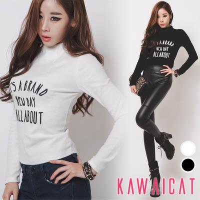 シャツ通販〜KawaiCatブランドの【ts10361】セミハイネックがエレガントなフロント英字刺繍デザインのシンプルでお洒落なカットソー