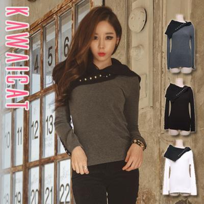 シャツ通販〜KawaiCatブランドの【ts10395】 色んなパターンで合わせられるユニークなデザインのアンバランス変形タートルポイント長袖Tシャツ