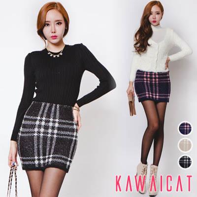 スカート通販〜KawaiCatブランドの【sk10411】スタイリッシュなチェック柄が素敵な細身アイテム♪伸縮性の良いバンディングチェックニットスカート