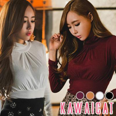 シャツ通販〜KawaiCatブランドの【C-style】【ts10503】胸下のシャーリングでメリハリボディーを強調☆シャーリングポイントタートルネック長袖Tシャツ(サイズS〜L)(4色)