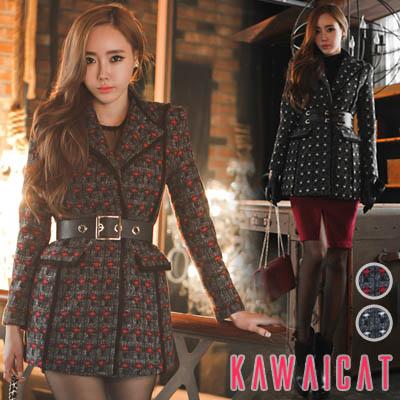 アウター通販〜KawaiCatブランドの【jk10504】ヒップラインを覆う丈感で暖かい♪ユニークなチェックパターン柄デザインのロングウールジャケット