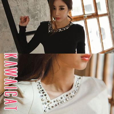 シャツ通販〜KawaiCatブランドの【C-style】【ts10521】ユニークなポイントを与えたネックラインポイントスタッズ装飾長袖カットソー