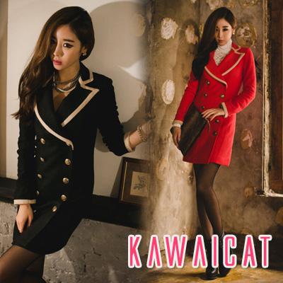 アウター通販〜KawaiCatブランドの【jk10529】ライン配色デザインでスッキリした襟元を演出♪ワンピーススタイルのダブルボタンジャケット