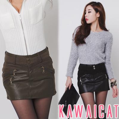 スカート通販〜KawaiCatブランドの【sk10548】 内側にパンツが付いたデザインで丈を気にせず穿けるZIPポイントレザー配色スカート(インナーパンツ)