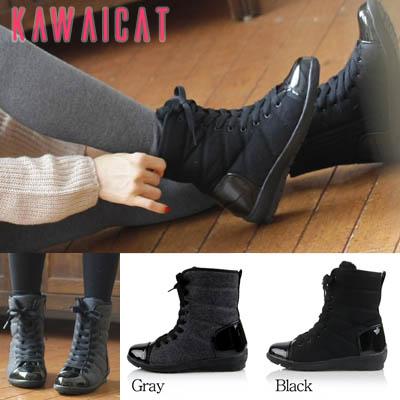 靴通販〜KawaiCatブランドの【sh10564】シンプルなデザインのエナメル配色がお洒落♪インナーファー配色とウール地の暖かブーツ(裏地ファー)(ヒール : 3.5Cm)