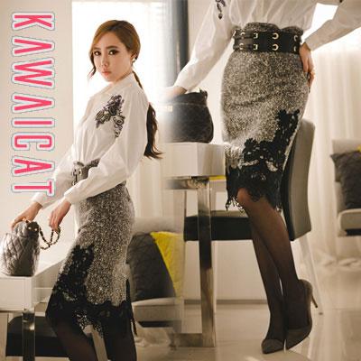 スカート通販〜KawaiCatブランドの【sk10594】スリムなウエストラインを強調しスタイル良く演出してくれる刺繍レースポイントハイウエストスカート