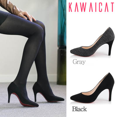 靴通販〜KawaiCatブランドの【sh10633】すっきりしたシルエットのベーシックなアイテム♪ウール素材で暖かく春まで使えるウールパンプスヒール(ヒール : 9Cm)
