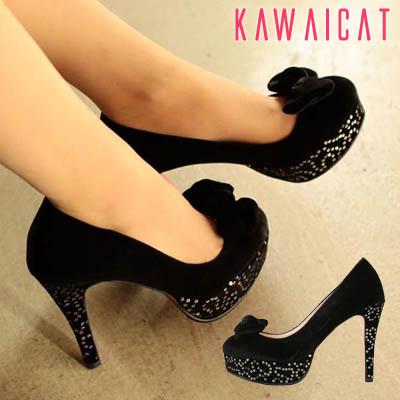靴通販〜KawaiCatブランドの【sh10657】シンプルなヒールとストームにスパンコールでアクセント♪リボンポイントパンプスヒール(ストーム : 3Cm ヒール : 11Cm)