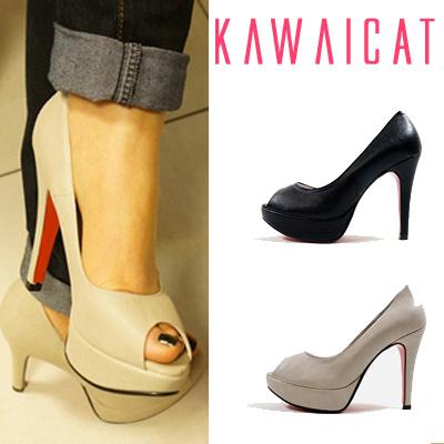 靴通販〜KawaiCatブランドの【sh10697】コーディネートしやすいベーシックな色味が◎オープントゥベーシックパンプス(ストーム2.5cm・ヒール11cm)