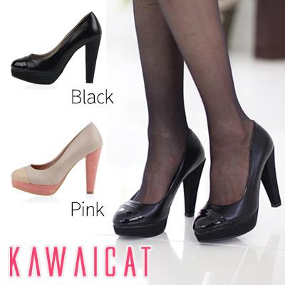 靴通販〜KawaiCatブランドの【sh10698】スッキリとしたブラックと配色切り替えがCuteなピンクの2種類☆配色ポイントパンプス(ストーム3cm・ヒール11cm)