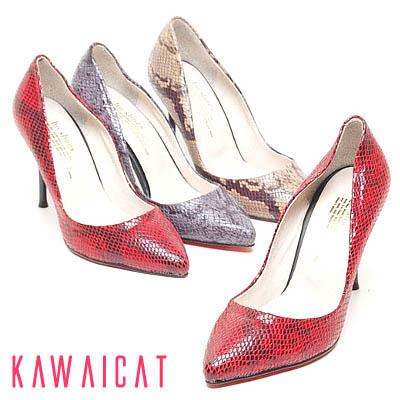 靴通販〜KawaiCatブランドの【sh10766】オールパイソン柄にポインテッドトゥがセクシー♪パイソン柄デザインのセクシーなパンプスヒール(ヒール : 9Cm)