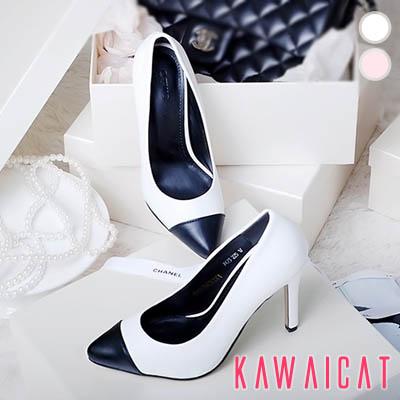 靴通販〜KawaiCatブランドの【sh10777】スマートでスリムなデザインにポインテッドトゥ別配色でアクセント♪すっきりした配色のセクシーなパンプスヒール(ヒール : 9.5Cm)