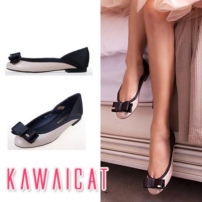 靴通販〜KawaiCatブランドの【sh10781】フラット×リボンポイントで女の子らしい足元を演出!配色リボンポイントフラットパンプス(ヒール2cm)