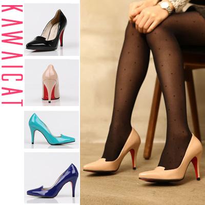 靴通販〜KawaiCatブランドの【sh10783】パンツスタイルにもワンピースにも合わせやすいベーシックデザイン!エナメルパンプス(4色・ヒール9cm)