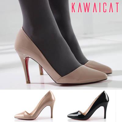 靴通販〜KawaiCatブランドの【sh10801】 光沢感のあるエナメル素材とポインテッドトゥデザイン♪どんなスタイルにも合わせやすいエナメルパンプスヒール(ヒール : 9Cm)