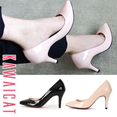 靴通販〜KawaiCatブランドの【sh10808】どんなコーデにも合わせやすいシンプルデザイン☆ベーシックエナメルパンプス(ヒール8cm)