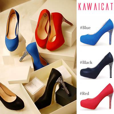 靴通販〜KawaiCatブランドの【sh10828】ヒールラインのシルバースタッズが華やかな印象を与えてくれる♪スタッズヒールパンプスヒール(ストーム : 3Cm ヒール :11Cm)