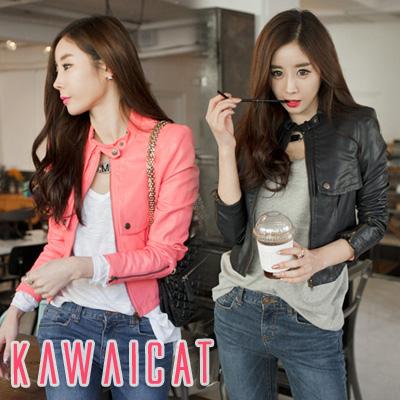 アウター通販〜KawaiCatブランドの【C-style】【jk10836】ケープ風のデザインが女性らしさをプラス☆パンツスタイルにもワンピースにも合わせやすいショルダーステッチショート丈レザージャケット
