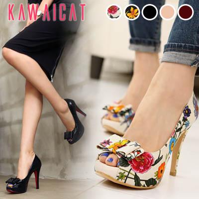 靴通販〜KawaiCatブランドの【sh10840】つま先のリボンデザインがシックで可愛い♪ブラックカラーと花柄の2タイプデザインのオープントゥパンプスヒール(ストーム : 2.5cm ヒール : 11Cm)