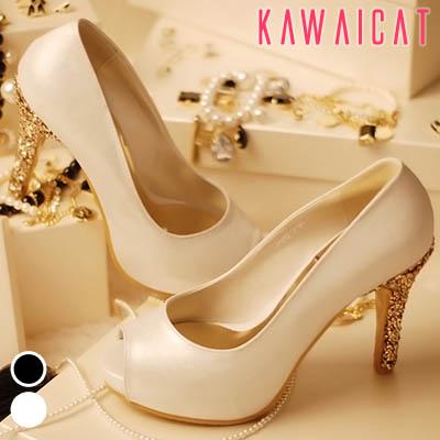 靴通販〜KawaiCatブランドの【sh10853】ベーシックなデザインかかと部分ゴールドストーン配色でお洒落♪ゴージャスなヒールラインのオープントゥパンプスヒール(ストーム : 2Cm ヒール : 10Cm)