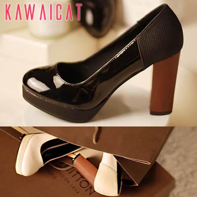 靴通販〜KawaiCatブランドの【sh10864】ウッドヒールがユニークで印象的♪つま先とかかとに別素材を配色したウッドヒールパンプス(ストーム : 2.5Cm ヒール : 9.5Cm)