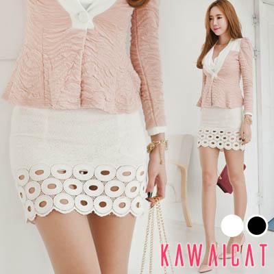 スカート通販〜KawaiCatブランドの【sk10890】 裾部分の丸いパンチングデザインがユニーク♪セクシーで個性的なドーナツパンチングスカート