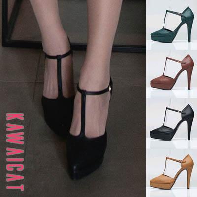靴通販〜KawaiCatブランドの【sh10913】 足の甲のワンラインでスリムに魅せるデザイン♪ワンラインストラップパンプスヒール(ストーム : 2.5Cm ヒール12Cm)