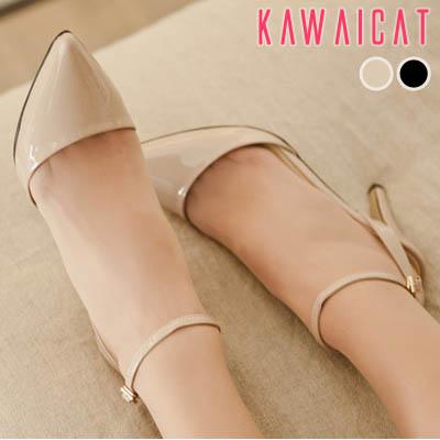 靴通販〜KawaiCatブランドの【sh10914】ポインテッドトゥデザインでセクシーな印象を与えてくれる♪足首とかかとにストラップデザインでセクシーなエナメルパンプスヒール(ヒール : 10Cm)
