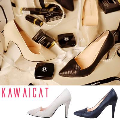 靴通販〜KawaiCatブランドの【sh10923】つま先のパイソン柄ディティールがセクシー♪パイソン柄レザーアクセントパンプスヒール