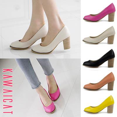 靴通販〜KawaiCatブランドの【sh10924】 太いヒールで安定感のある履き心地を提供してくれる♪ウッドディデザインのスタイリッシュなパンプスヒール(ヒール : 7Cm)