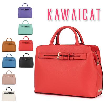 ハンドバッグ通販〜KawaiCatブランドの【ba10939】 荷物が入れやすいサイズで実用的☆ベルト2ラインポイントショルダー×トートスクエア2wayバッグ