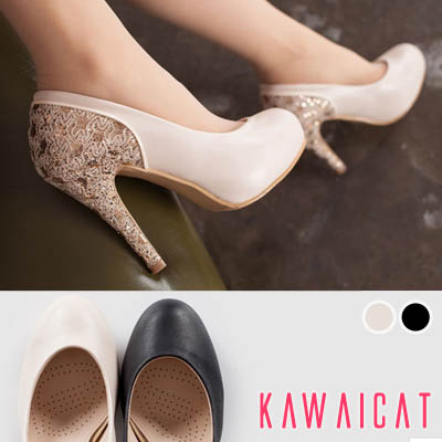 靴通販〜KawaiCatブランドの【sh10947】かかとからヒールにラメレースデザインでエレガント♪パールレース配色パンプスヒール(ストーム : 2.5Cm ヒール : 11Cm)
