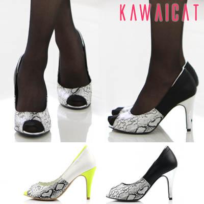 靴通販〜KawaiCatブランドの【sh10949】フロントとバックを別の素材でミックス感がお洒落なアイテム♪パイソン柄ディティールオープントゥパンプスヒール(ヒール : 9Cm)