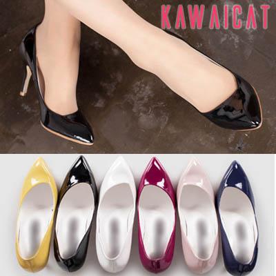 靴通販〜KawaiCatブランドの【sh10950】どんなスタイルにも合わせやすいベーシックなポインテッドトゥ♪エナメルパンプスヒール(6カラー)(ヒール : 9.5Cm)