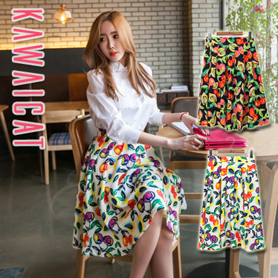 【sk10990】ウエストラインと脚を細く見せてくれるプリーツデザイン☆ミディアム丈プリントプリーツスカート