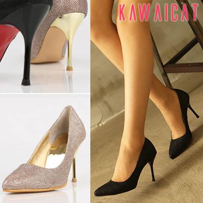 靴通販〜KawaiCatブランドの【sh11010】ポインテッドトゥデザインと全体の光沢感が高級感のあるセクシーさを演出♪セクシーパールパンプスヒール(ヒール : 9Cm)