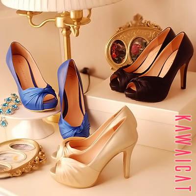 靴通販〜KawaiCatブランドの【sh11021】ワンピースやドレスなどと相性ピッタリなパンプスです♪ツイストサテンディティールデザインのパンプスヒール(ストーム : 2.3Cm ヒール : 10Cm)