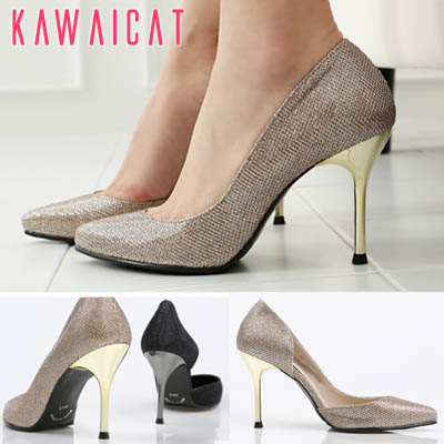 靴通販〜KawaiCatブランドの【sh11022】光沢感のある質感とヒールもスタイリッシュなセクシーデザイン♪内側オープンスタイルゴールドパールパンプスヒール(ヒール : 9Cm)