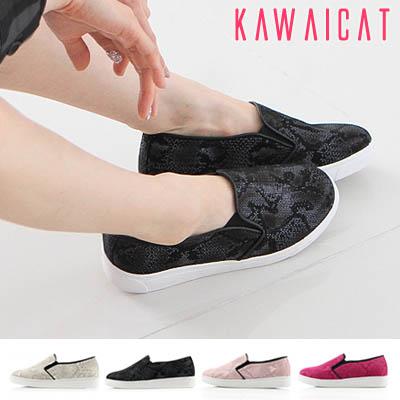靴通販〜KawaiCatブランドの【sh11034】どんな場面でも気軽に履くことができて楽チン♪パイソン柄デザインのカラースリッポンシューズ