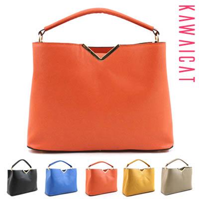 バッグ通販〜KawaiCatブランドの【ba11043】シンプルで高級感のあるデザイン♪フロントVメタルポイントデザインのベーシックバッグ(5色)