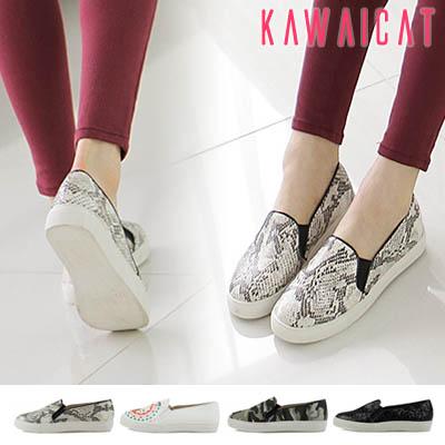 靴通販〜KawaiCatブランドの【sh11046】履きやすさ抜群♪パイソン柄からキュートなデザインまで豊富なスリッポンシューズ(ヒール : 2.5Cm)