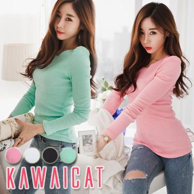 シャツ通販〜KawaiCatブランドの【C-style】【ts11050】女性らしいショルダーピンタックデザインのラブリーなカットソー(4色)